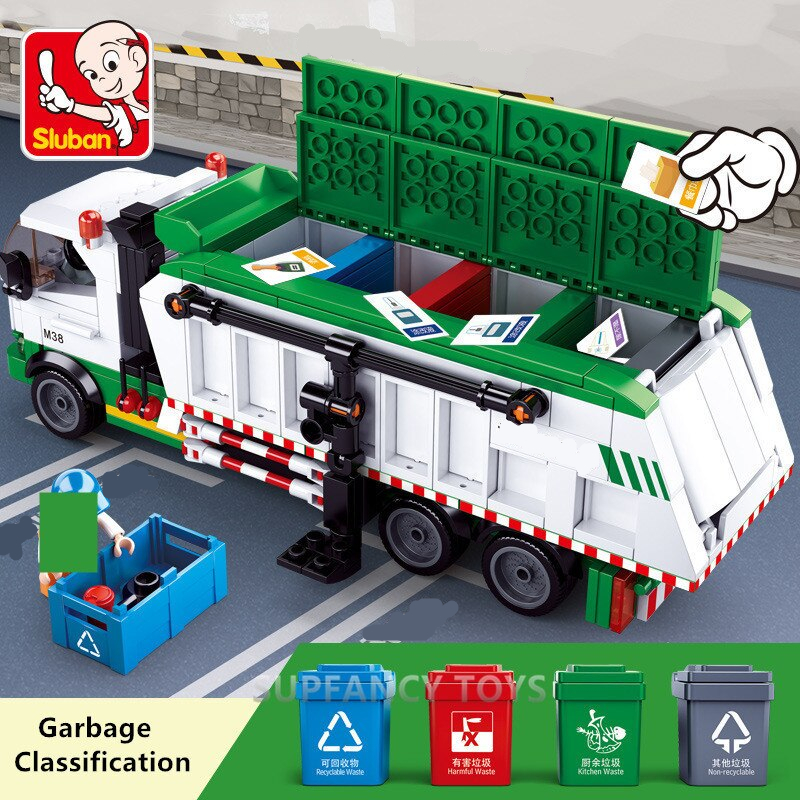432Pcs City Garbage Classification Truck Car 100 Cards Building Blocks Sets Brinquedos Playmobil Educational Toys for Children
