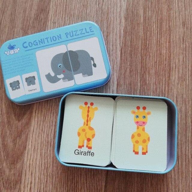 Baby Cognition Puzzle Toys Toddler Kids Iron Box Cards Matching Game Cognitive Card Car Fruit Animal Life Puzzle