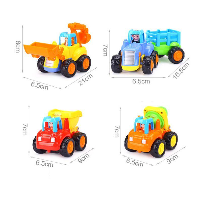 Thicken Push And Go Car Construction Vehicles Toys Pull Back Cartoon Play For 2 3 Years Old Boys Toddlers Kids Gift 95AE